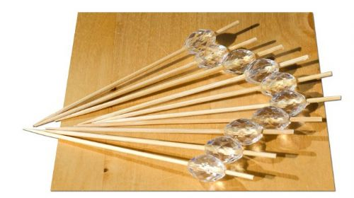 White Crystal bead wood skewer – 9cm x 100 - GOTO